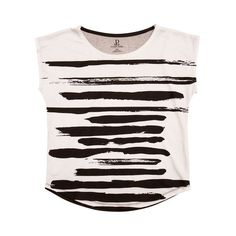 Brush Strokes White/Black Graphic Tee (200 MYR) ❤ liked on Polyvore featuring tops, t-shirts, black and white print top, print tees, pattern t shirt, pattern tees and black and white top