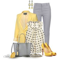 Heather grey skinnies, yellow blazer, white with black polka dots == sassy!