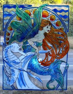WICOART WINDOW COLOR STICKER STATIC CLING STAINED GLASS ART NOUVEAU SIRENE