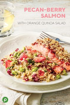 Our Publix Aprons® Pecan-Berry Salmon with Orange Quinoa Salad is bursting with vitamin C, iron, and protein. What a sweet and savory way to get your weekly seafood intake! You'll enjoy every bite and feel great about what you're eating. #salmonrecipes