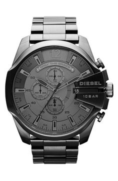 This watch ain't messin'... this watch wants to kick some ass. 'Mega Chief' Bracelet Watch, 51mm - DIESEL® - $240