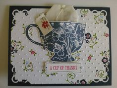 Teacup inspiration - I like the corner punch and the paper that has been ran thru a folder.  pretty card