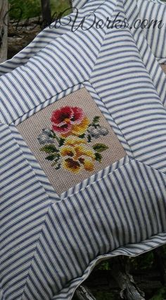 Sewing Pillows Salvaged Needlepoint Vintage Blue Ticking Pillow slip at Sewing Pillows, Diy Pillows, Decorative Pillows, Cushions, Pillow Ideas, Fabric Crafts, Sewing Crafts, Sewing Projects, Cross Stitch Embroidery