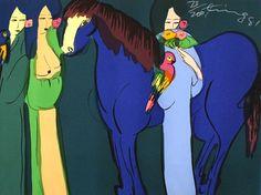 丁雄泉 - 女郎和藍馬