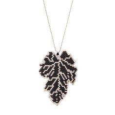 Miyuki leaf necklace, Black and Silver Gray  Leaf length: 6 cm(2.36)  Width 4.5 cm(1.77)  Silver gray chain length 55 cm(21.6)  It is not recommended to contact with water and perfume.   Orders are shipped out within 1-2 business day.