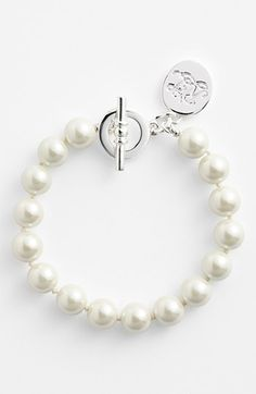 Lauren Ralph Lauren 10mm Glass Pearl Toggle Bracelet available at #Nordstrom - So simple and so nice :)