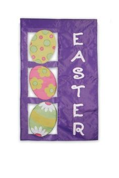 "Easter Eggs Decorative Flag 28"" X 44"" by Evergreen. $16.99. Will fit most decorative flag poles and hangers. Appliqued design. 28"" x 44"". All weather polyester. The Easter Eggs Banner features 3 pretty Easter eggs down the left side of the flag with the word ""Easter"" down the right side. The background of this decorative is a bright purple. So pretty and cheery, this house flag is perfect to celebrate Easter!"
