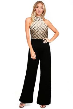 High Neck Jumpsuit with sleeveless and wide leg design