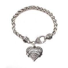 Puerto Rico Pave Heart Charm Bracelet