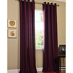 @Overstock.com - Grape Cotenza Faux Cotton Grommet Curtain Panel - This faux-cotton grommet curtain panel features a grommet header that makes it easy to hang on a curtain rod. Its grape color adds a touch of flair to your living room or dining room decor, and it is made of durable unlined polyester.  http://www.overstock.com/Home-Garden/Grape-Cotenza-Faux-Cotton-Grommet-Curtain-Panel/6740280/product.html?CID=214117 $66.99