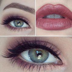 plum smokey eye and deep rosy lip