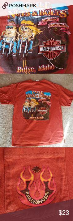 Harley Davidson Sz L Harley Davidson Men's Sz L  T shirt, dark rust brown color.  Vivid screening on back. Boise, Idaho!!!!  EUC  Nonsmoker Thanks for looking at my closet and have a great day! Harley Davidson Shirts Tees - Short Sleeve