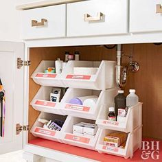 Clean up your bathroom cabinets with seamless storage products that make the most of available space.