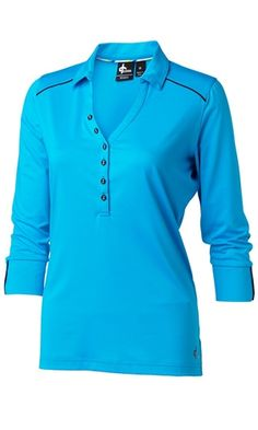 Blue 3/4 sleeve ladies golf polo with black piping trim details | #golf4her