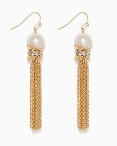 charming charlie | Pearly Chain Tassel Earrings | UPC: 410007555418 #charmingcharlie