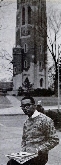 Ernest Green at Michigan Student University, c. 1961.  Ernest Green, the eldest of the Little Rock Nine and the the first black student to graduate from Little Rock Central High School. Green went on to graduate from Michigan State University with a B.A. in 1962 an M.A. in 1964