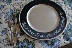 chalkboard charger plates...hmmmm....I could write Bible verses that tell the Easter story!