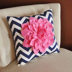 Pink Dahlia on Navy and White Zigzag Pillow -Chevron Pillow-. $35.00, via Etsy.