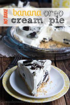 No Bake Banana Oreo Cream Pie No Bake Desserts, Easy Desserts, Delicious Desserts, Dessert Recipes, Yummy Food, Pie Recipes, Jello Desserts, Healthy Desserts, Banana Pie