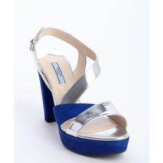 Prada Blue and silver patent leather strappy suede heel sandals ($446) ❤ liked on Polyvore featuring shoes, sandals, metallic sandals, strappy sandals, high heel sandals, strap sandals and blue strappy sandals