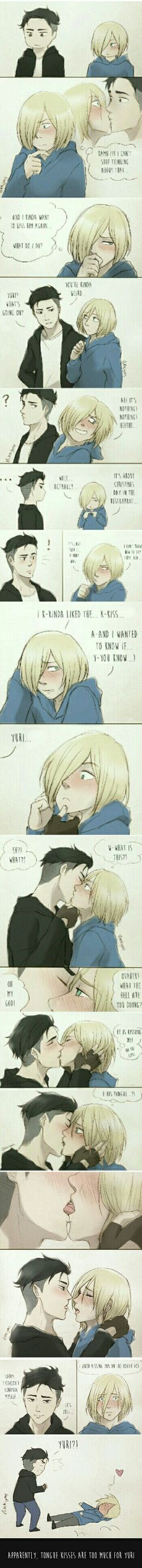 French kisses are too much for yuri Otayuri kiss . Yuri Plisetsky. Otabek Altin . Yuri on ice. YOI  Original fan art taken from: nikkiyan.tumblr.com
