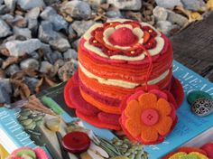 Felted Wool Cake Pin Cushion/Soft Sculpture by PineHeartDesigns, $60.00