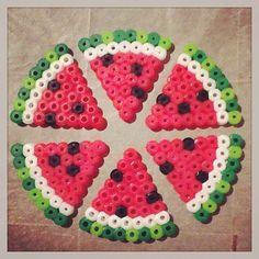 Watermelon slices hama perler beads by ashleyeglidewell