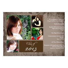 This graduation announcement is a modern country grunge design! The background is a brown grunge design with a place for four photos with a ...