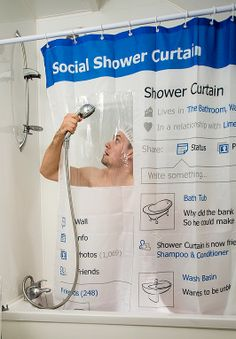 """This """"facebook"""" shower curtain is $24 on thisiswhyimbroke"""