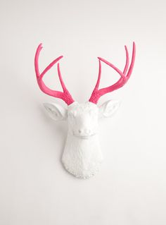 Faux Taxidermy - The Boris - White W/ Pink Antlers Resin Deer Head