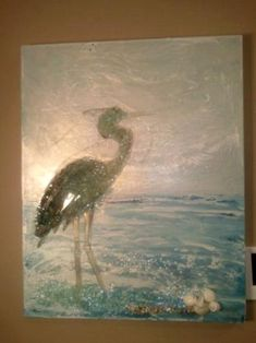 egret glass art by Mary Hong