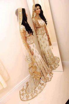Gorgeous Gold & White Bridal Lengha