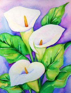 """Calla Lilies"" - watercolor by ©Meltem Kilic (via DailyPainters)"