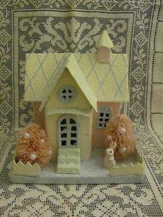 Vintage Style Easter Putz House Bottle Brush Trees Bunny   eBay