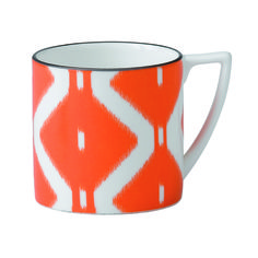 This brilliantly decorated orange Kilim Mini Mug features a modern adaptation of the vivid, ancient Kilim design in rich black tones, and is crafted of platinum-banded, fine bone china.