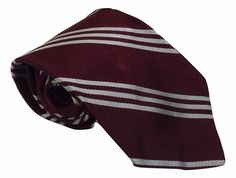 Brooks Brothers Silk Necktie Repp Striped Maroon White 55.75 by 3.25 Skinny #BrooksBrothers #Tie