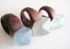 Nga Waiata, rings | Made from sustainably mined brazillian crystals and recycled native New Zealand black maire hardwood.
