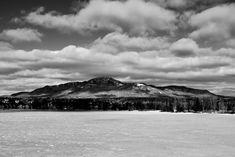 Mont Orford with lake Memphrémagog - Prise de la Pointe Merry à Magog QC. Vue du mont Orford et du lac Memphrémagog gelé. Mount Orford and frozen Lake Memphremagog, from Parc de la Pointe Merry in Magog QC.
