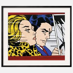 Lichtenstein framed pop art poster: In The Car | I WANT.