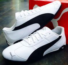51185e4e614 PUMA REPLI CAT III L White Black Leather Athletic Men US 11 UK 10 EUR 44.5  CM 29
