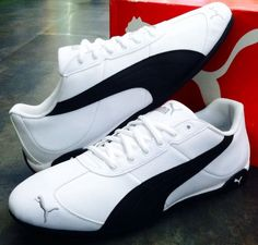 bd7a9546f87822 PUMA REPLI CAT III L White Black Leather Athletic Men US 11 UK 10 EUR 44.5  CM 29