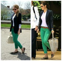 green pants, white shirt, and navy blazer. Loving the simplicity of this outfit!