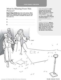 Find what's missing and connect the dots: A Woman Shows Kindness to Elisha. Help your children learn Bible accounts using these free printable picture activities. Sunday School Activities, Sunday School Crafts, What Is Miss, Printable Pictures, Bible Teachings, Bible Crafts, Bible Stories, Kids Learning, Cool Kids
