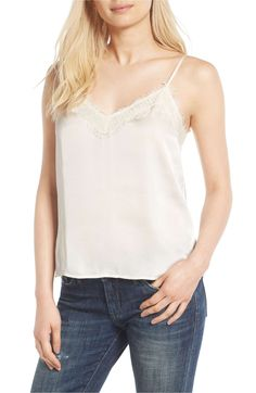 Vince Camuto Tie-Strap Eyelet-Detail Camisole - White S Lightin The Box, Colored Jeans, Dress Me Up, Casual Tops, Lace Trim, Fit, Camisole Top, Feminine, How To Wear