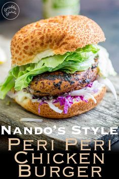 This juicy Peri Peri chicken burger is perfect for Nando lovers. The homemade marinade takes the humble chicken breast and turns it into a juicy and delicious dinner. Plus the fennel slaw! Oh so refreshing and perfect against the slight spicy of the bur Healthy Sandwich Recipes, Turkey Burger Recipes, Healthy Sandwiches, Lunch Recipes, Dinner Recipes, Sandwich Ideas, Grilling Recipes, Dinner Ideas, Healthy Food