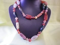 Long Heavy Vintage Agate Necklace by EternalElementsEtsy on Etsy