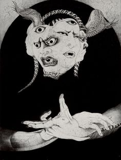"""Three Faced Sea Hag"" by Japanese artist Shin Taga. Taga is a self taught artist and skilled draftsman creating surreal and macabre… Art Inspo, Inspiration Art, Art Et Illustration, Illustrations, Japanese Illustration, Arte Horror, Horror Art, Art Noir, 8bit Art"
