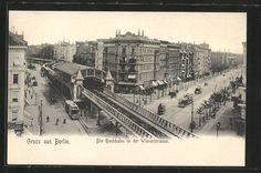 AK Berlin-Kreuzberg, Die Hochbahn mit Bahnhof in der Wienerstraße, Straßenbahnen