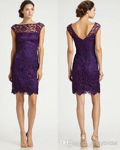 Wholesale Sleeve Short - Buy 2014 Sheer Illusion Bateau Cap Sleeve Short Party Dress on Sale Sheath Purple Lace Short/Mini Bridesmaid/Cocktail/Homecoming Dresses Cheap, $95.29 | DHgate
