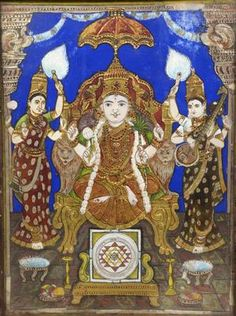 Mysore Painting, Tanjore Painting, Traditional Paintings, Durga, Goddesses, Antiques, Glass, Art, Antiquities
